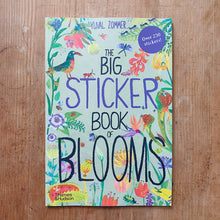 Load image into Gallery viewer, big sticker book of blooms cover shot laydown top view on wooden background