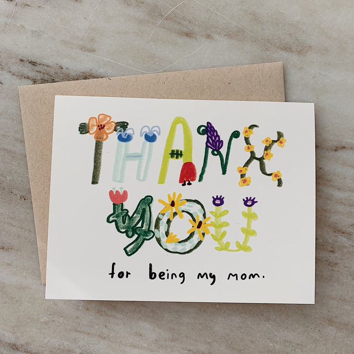 thank you for being my mom card laydown top view on marble