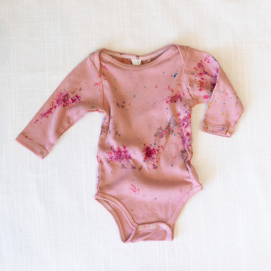 front view good moon long sleeve onesie in wisteria