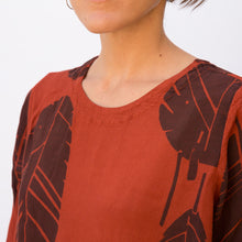 close up view leaf print tunic by grizas