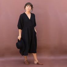 front view wrap dress black by hansel from basel