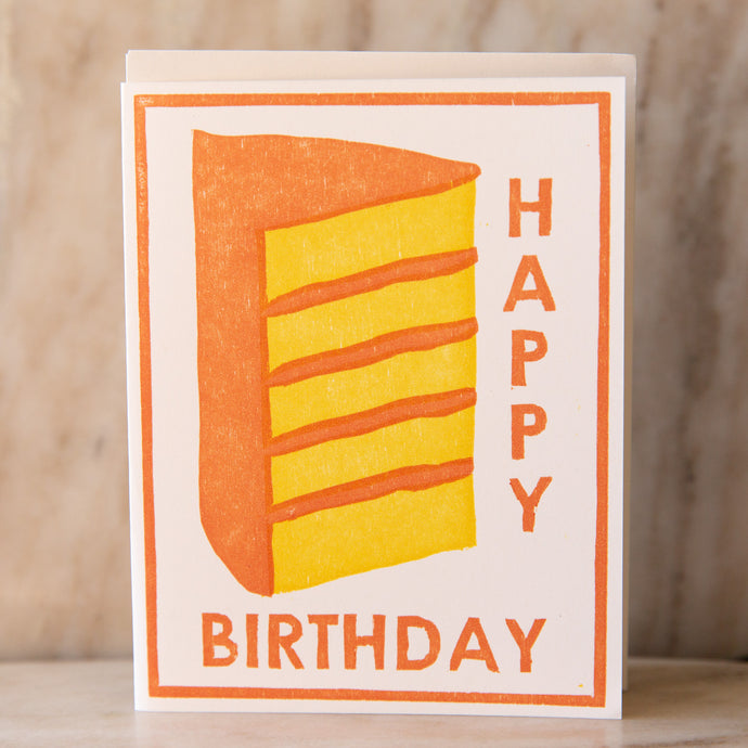 front view of birthday cake card