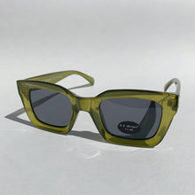 Load image into Gallery viewer, green rectangle glasses front view laydown on white background