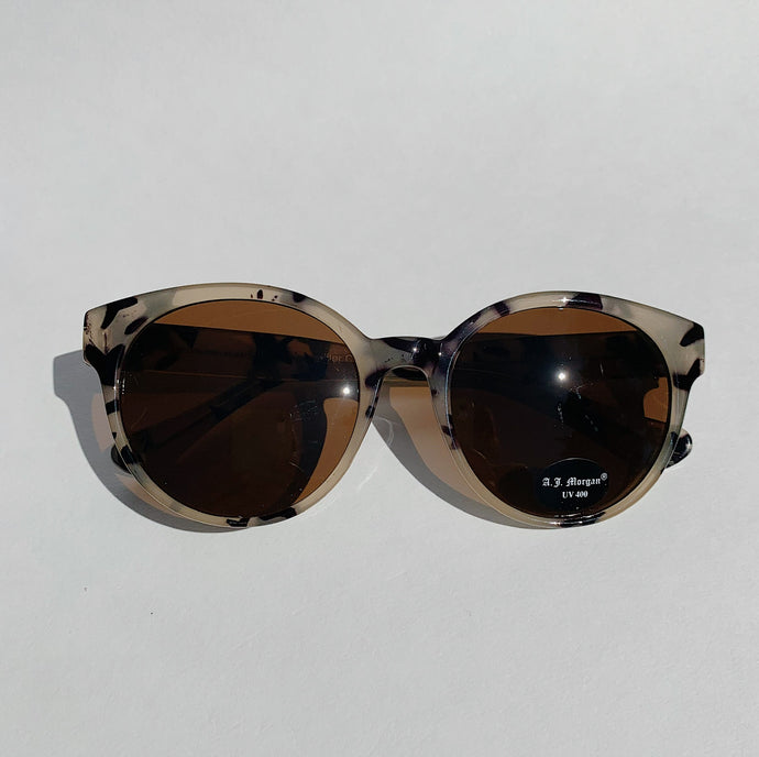 pale eye tortoiseshell sunglasses laydown top view on white background