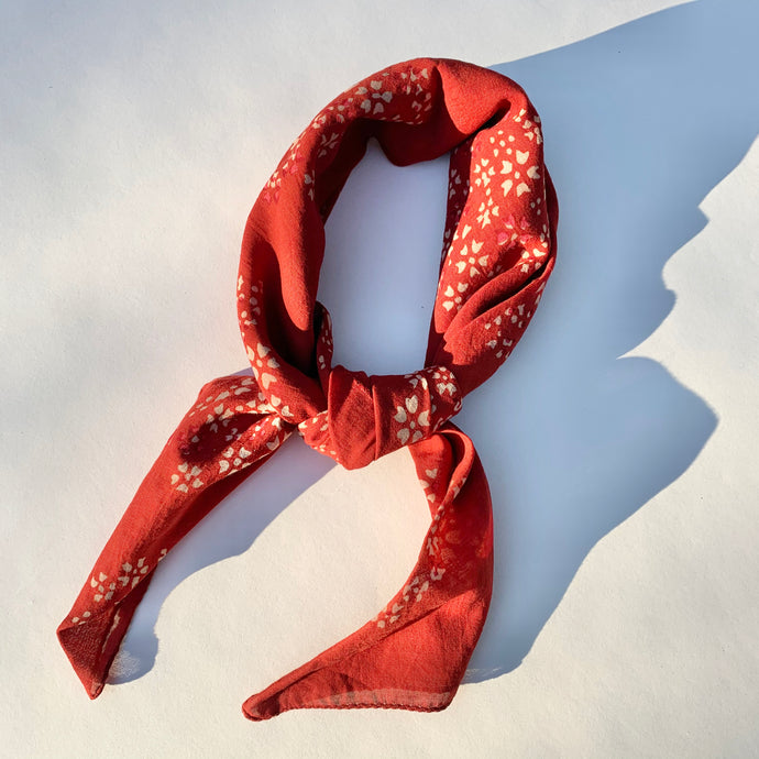 Bandana | Floating Petals in Red Madder