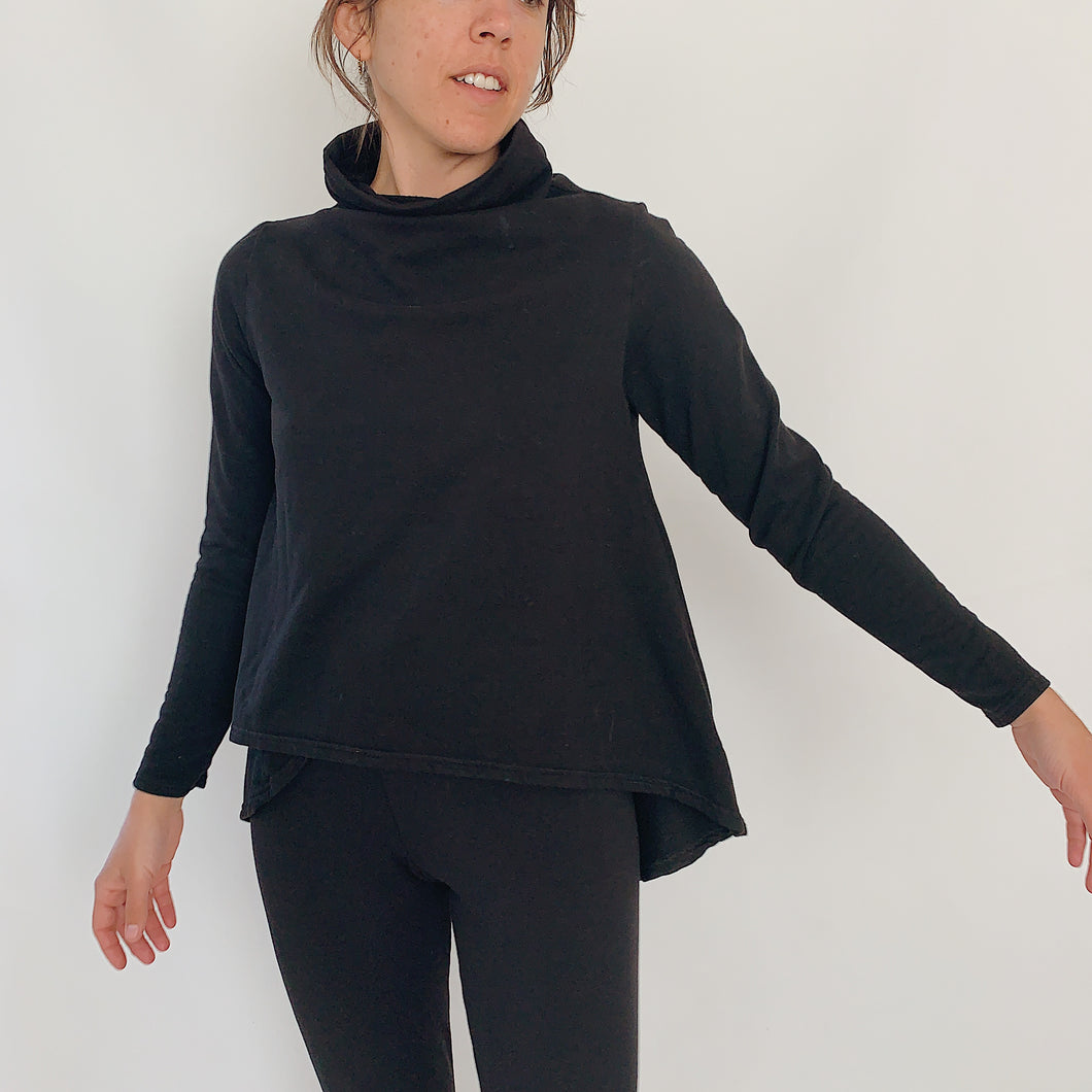 Cut Loose | Funnel Neck High Low Fleece Top in Black