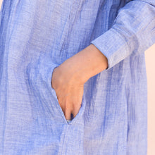 close up pocket view rebecca dress in light blue from india