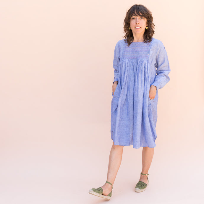 front view rebecca dress in light blue from india