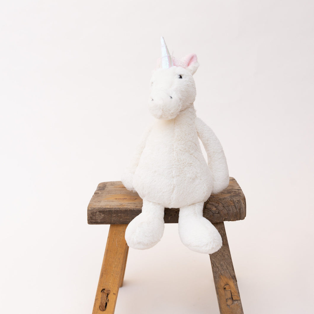 front view bashful unicorn by jellycat