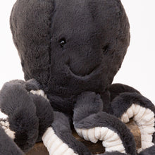 close up view inky octopus by jellycat