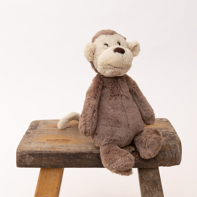 front view of small bashful monkey by jellycat