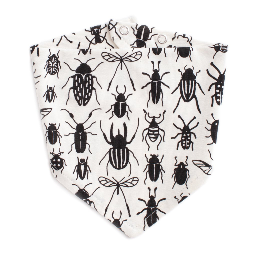 flat lay view of kerchief bib in an all-over black bug print