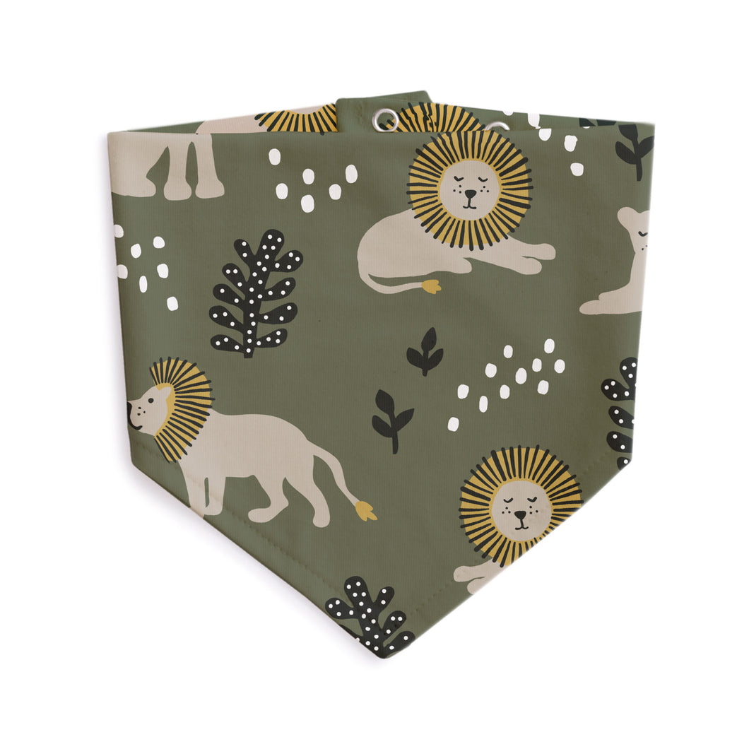 Winter Water Factory | Forest Green Lion Kerchief Bib