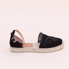 side view black espadrille from spain