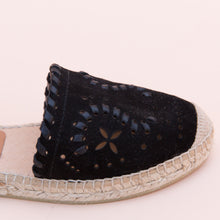 close up view black espadrille from spain