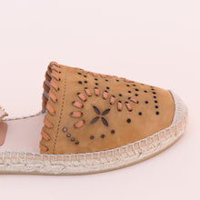 close up view tan espadrille from spain