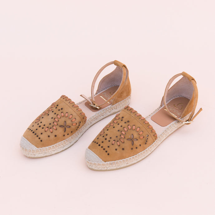 diagonal view tan espadrille from spain