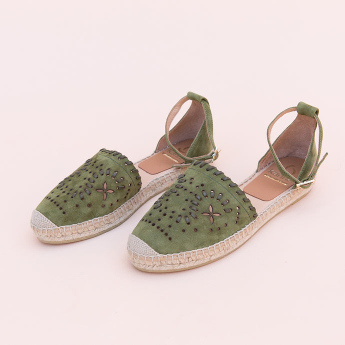 diagonal view green espadrille from spain