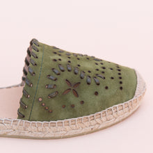 close up view green espadrille from spain