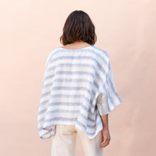 back view of pocket blouse in blue and white