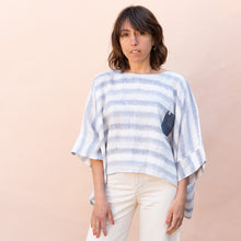 front view of pocket blouse in blue and white