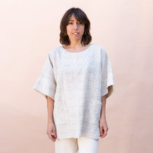 front view of pocket tunic in jute