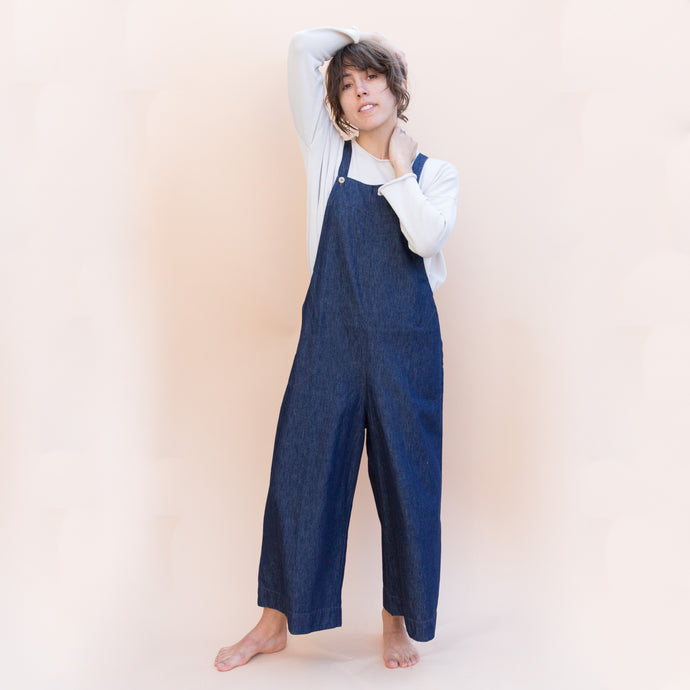 front view denim jumpsuit by kleen