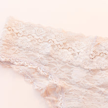 close up view lace undies in nude