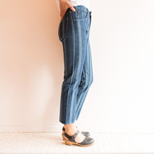 side view striped slim crop levi's