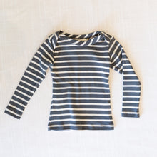 front view mabo long sleeve in grey stripe