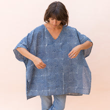 front view indigo tunic by maelu