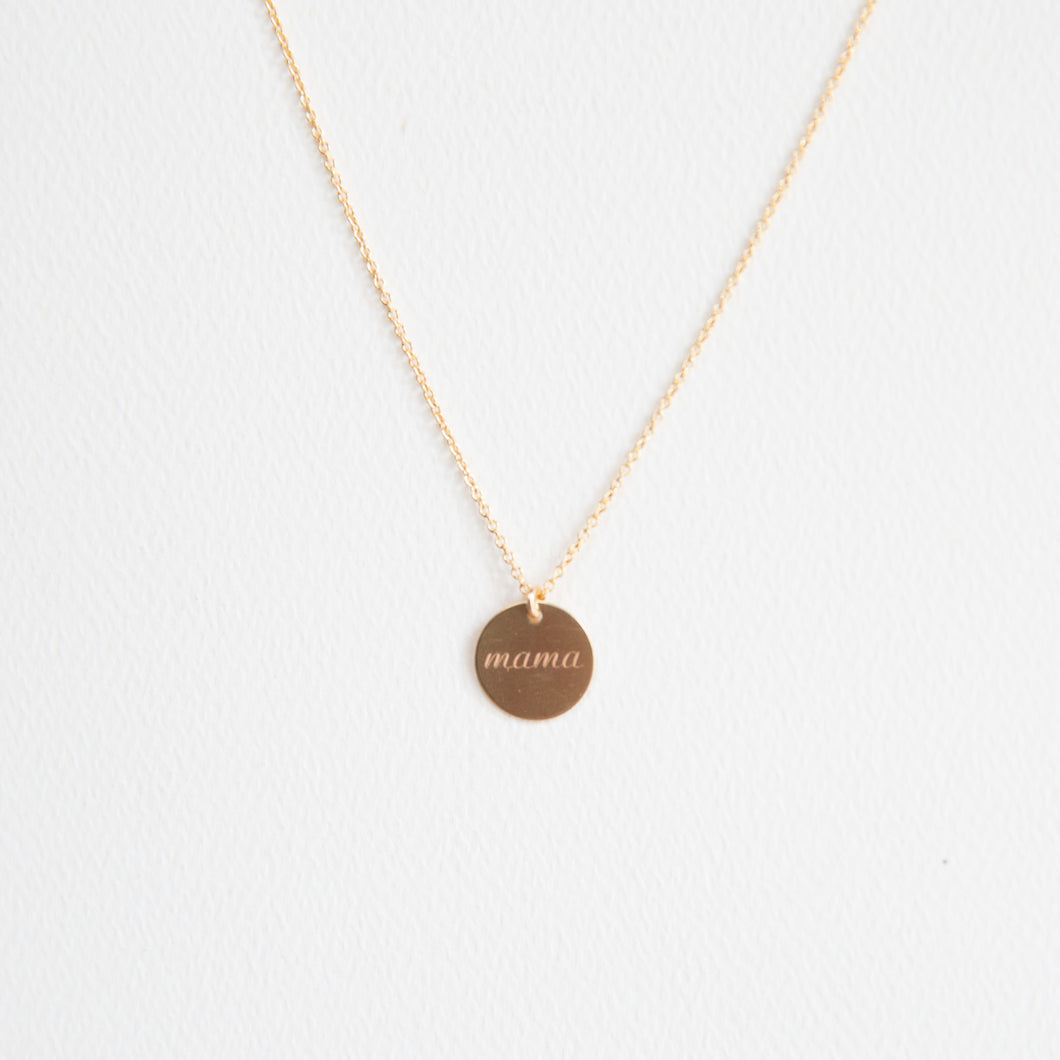 Gold Circle Mama Necklace