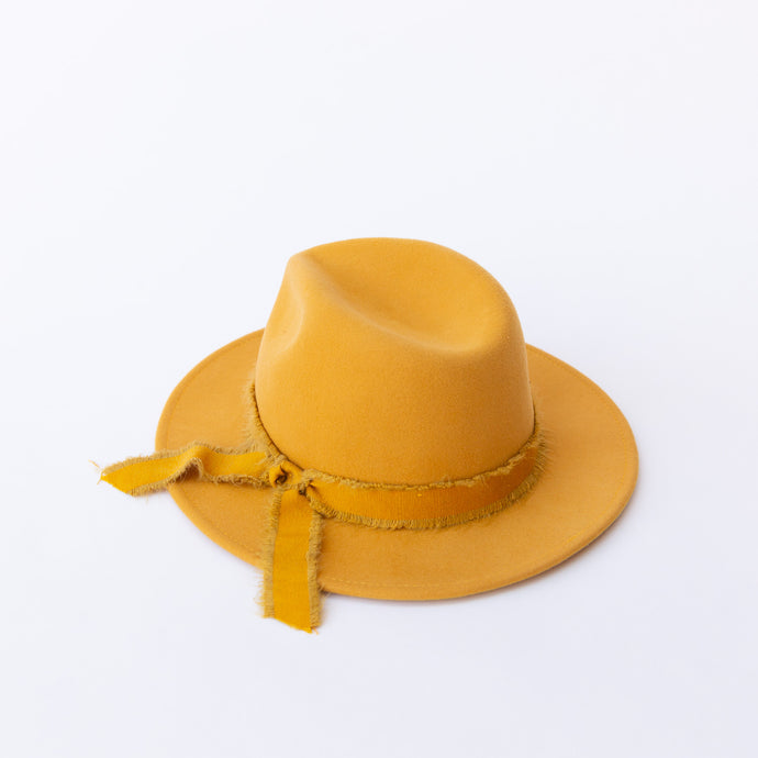 mustard felt hat with ribbon