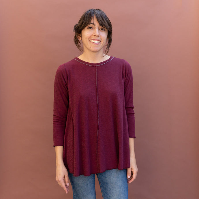 front view maroon double cotton top by north star base