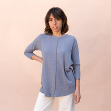 front view double cotton layer top in slate
