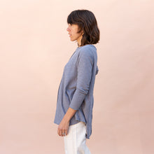 side view double cotton layer top in slate