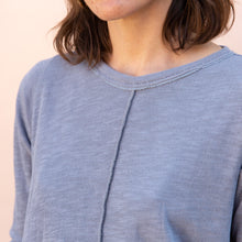 detail of double cotton layer top in slate
