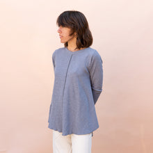 diagonal view double cotton layer top in slate