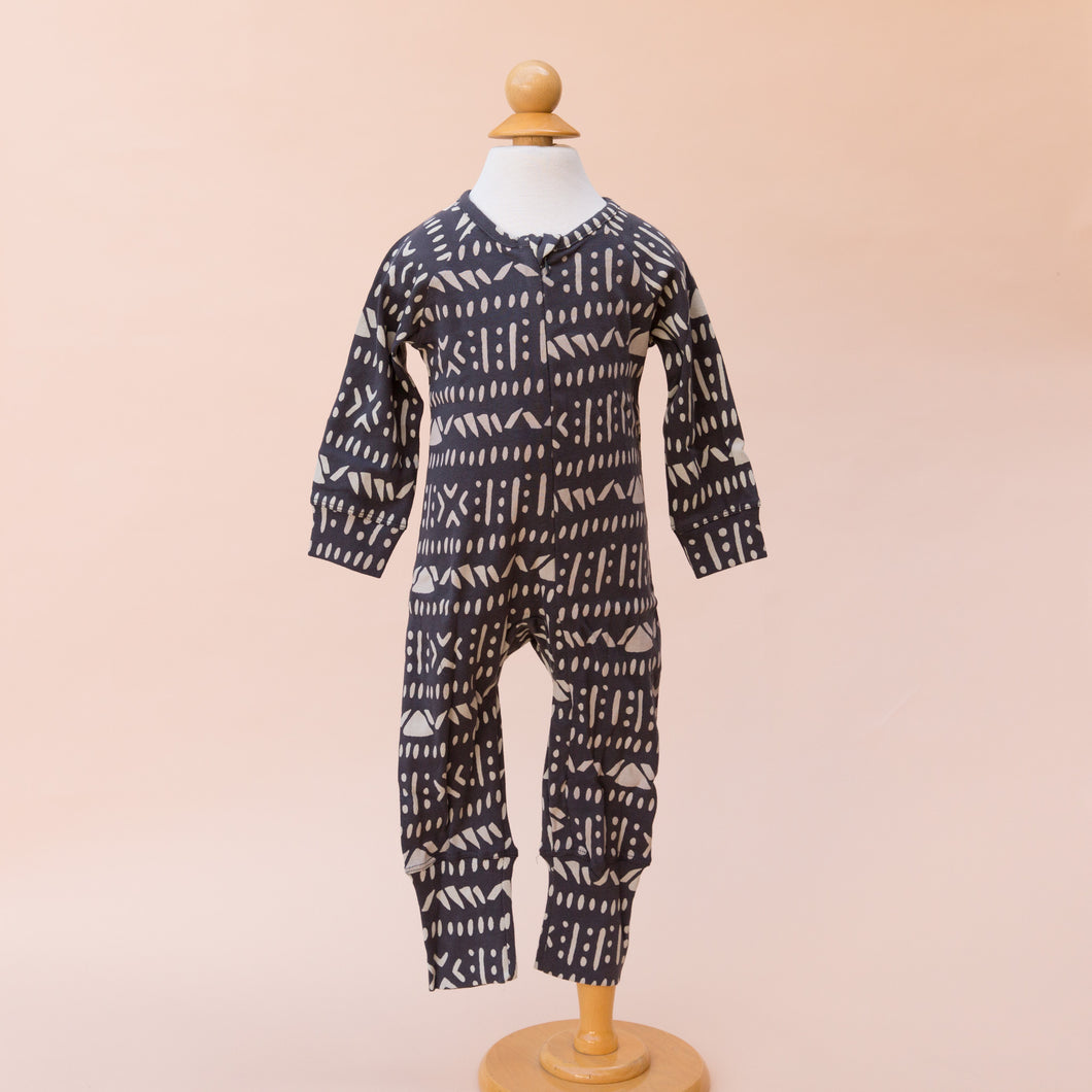 front view charcoal footless romper from georgia