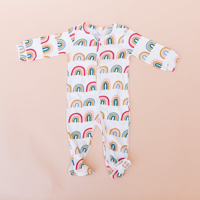 flat front view rainbow footed romper from georgia
