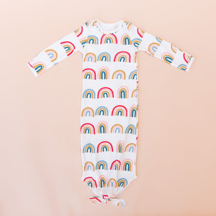flat front view rainbow newborn gown from georgia