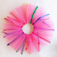 overhead view of fuchsia ribbon tutu