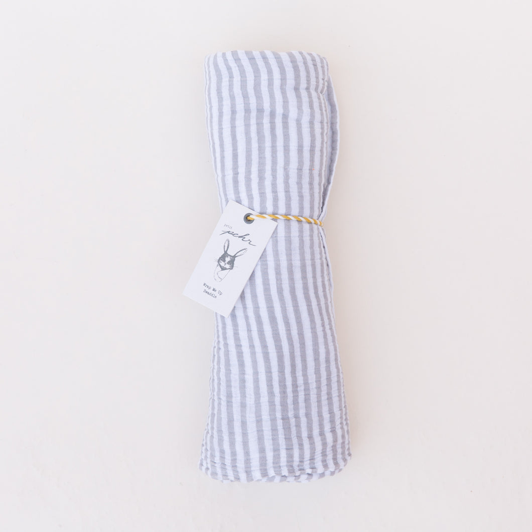 wrapped swaddle in grey/white stripe by pehr