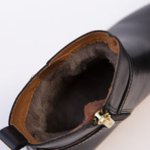 inside view buckle boot black from spain
