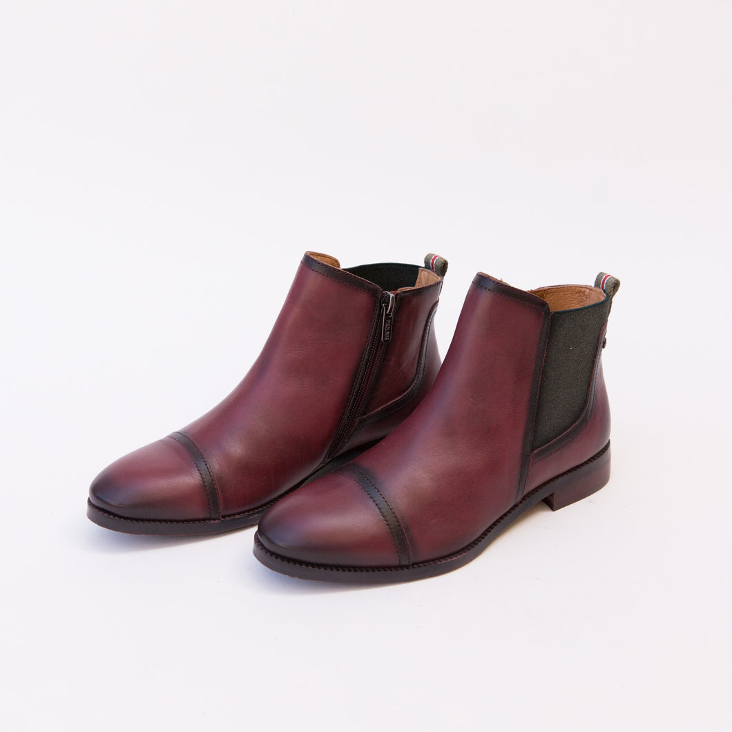 diagonal view garnet leather boot from spain