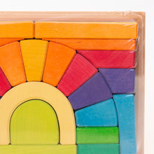 close up view of rainbow blocks