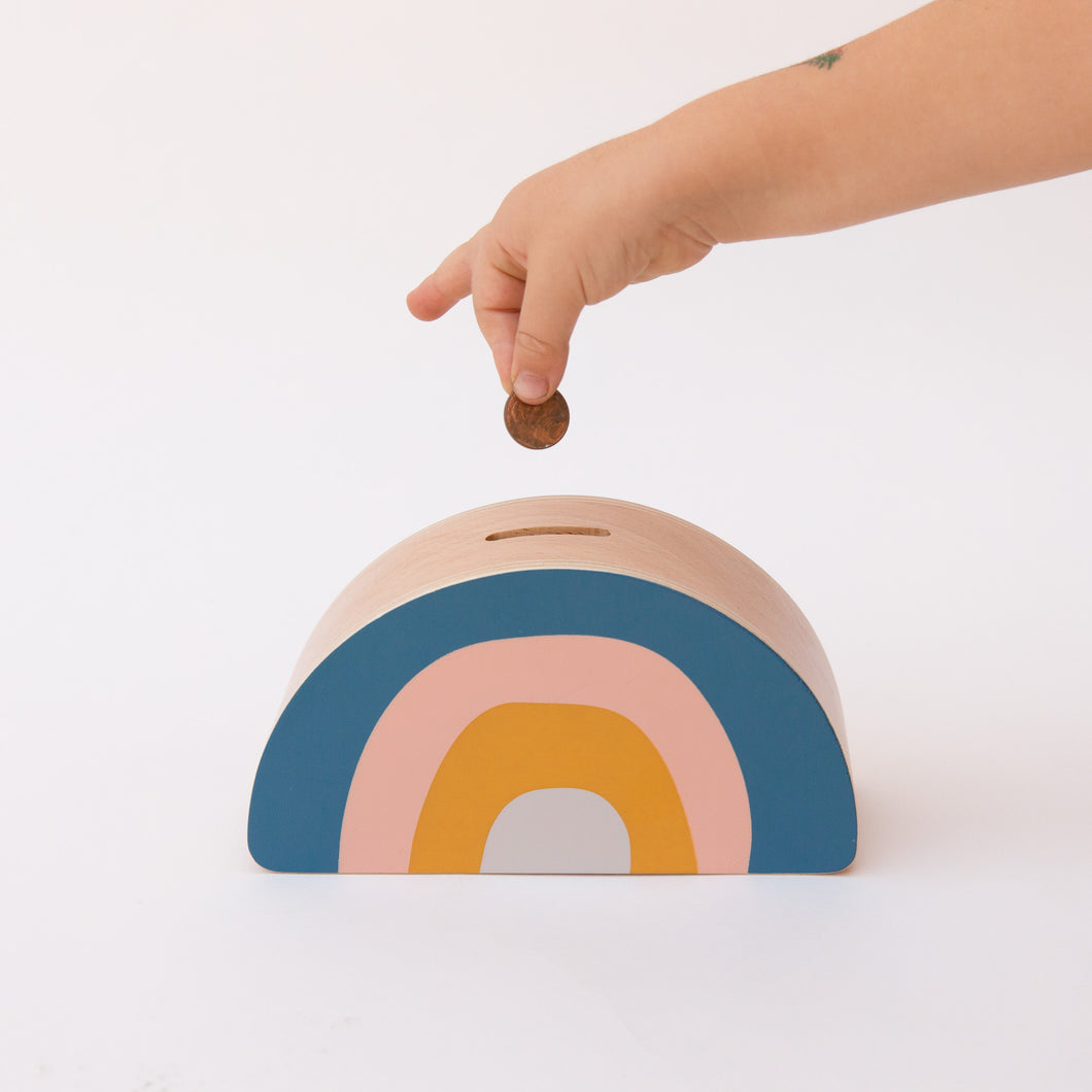 front view rainbow money box with coin
