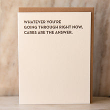 "front view of ""carbs are the answer"" card"