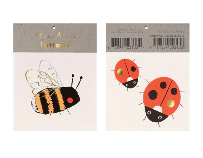 meri meri bee ladybug temporary tattoo top view in packaging
