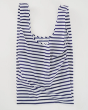 Load image into Gallery viewer, baggu big reusable bag sailor stripe laydown flat on white background